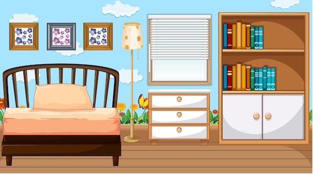 Interior design della camera da letto con mobili