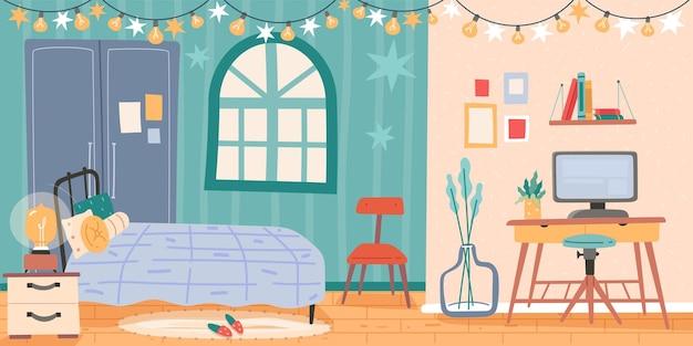 Interno della camera da letto. all'interno mobili e oggetti per la stanza, arredamento moderno per la casa, postazione di lavoro con computer, salotto con letto, accogliente insieme di vettore