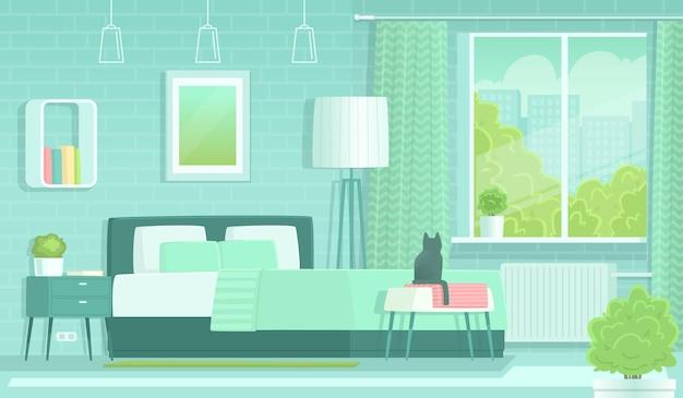 Interno della camera da letto al mattino. letto, comodino e lampada. illustrazione vettoriale in stile piatto