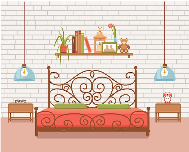 Vettore interno camera da letto. illustrazione colorata di mobili da appartamento hotel letto, comodino, lampada, pianta della casa. concetto per la progettazione o la pubblicità del sito web. isolato su sfondo bianco