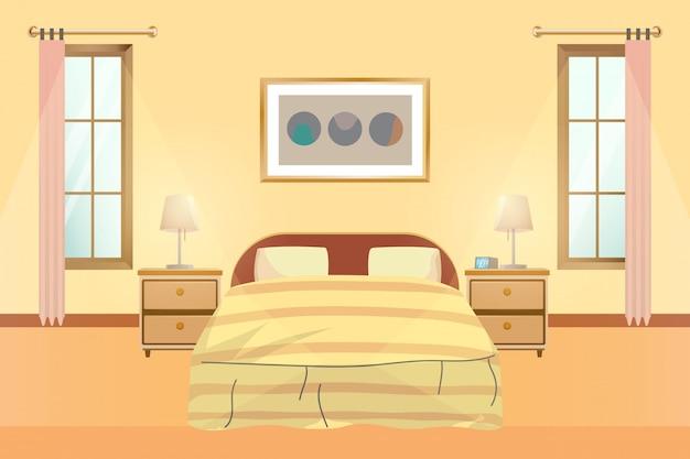 Illustrazione vettoriale di camera da letto interni.