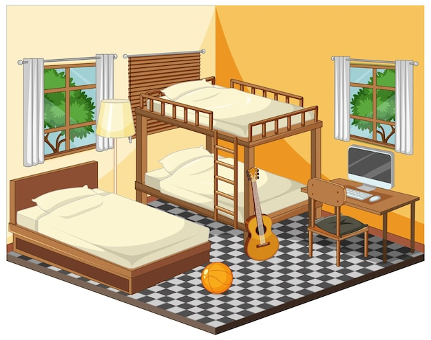 Interno camera da letto con mobili in tema giallo