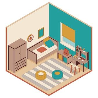 Camera da letto per bambini in stile isometrico. divano, mobili e scrivania
