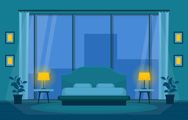 Illustrazione moderna dell'appartamento dell'hotel di interior design del letto della camera da letto della camera da letto