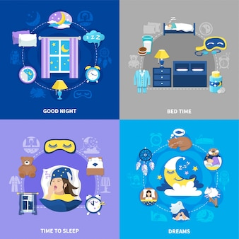 Bedtime 4 icone piane quadrate