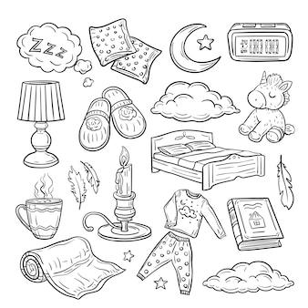 Insieme di doodle di andare a dormire