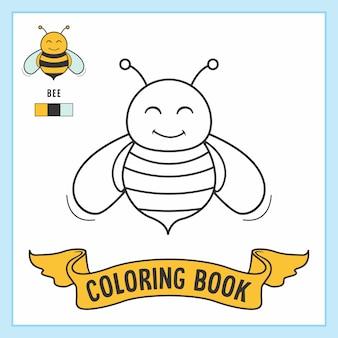 Pagine del libro da colorare degli animali dell'ape