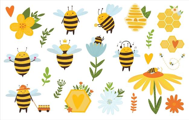 Pacchetto di api. ape con favi, fiori e foglie.