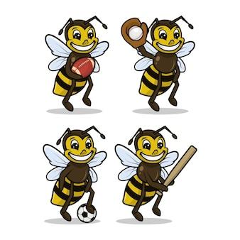Set di illustrazioni per il design relativo allo sport della mascotte dell'ape carino