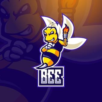 Illustrazione di progettazione di logo della mascotte di e-sport dell'ape