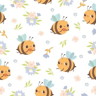 Modello senza cuciture ape e fiori flowers