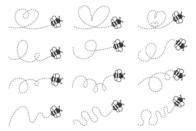Percorso di volo delle api. ape che vola in una linea di punto a forma di cuore isolata.