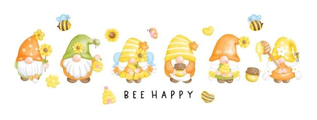Bee gnome bee happy banner biglietto di auguri Vettore Premium
