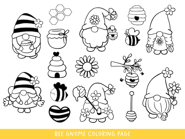 Bee gnomes doodle bee gnome coloring page