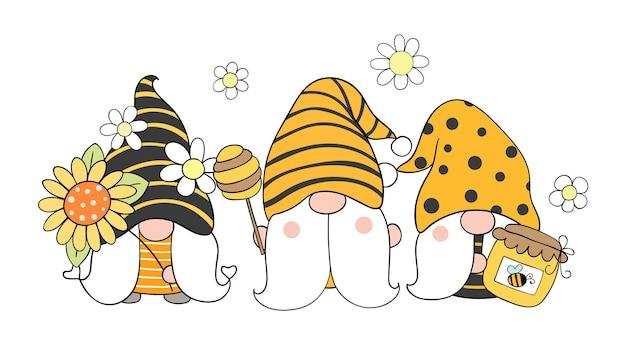 Gnomi delle api per la primavera in stile cartone animato