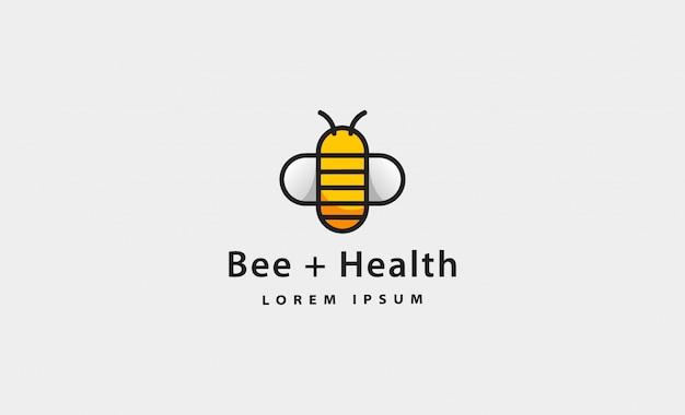 Illustrazione semplice di logo dell'icona di salute dell'ape