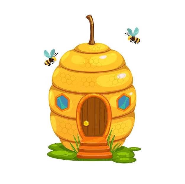 Casa delle fate dei cartoni animati dell'alveare delle api o dimora del nido dello sciame delle api mellifere. costruzione di fantasia vettoriale a forma di alveare di api selvatiche con favi, cera gialla ed finestre esagonali, scale portico in erba e legno