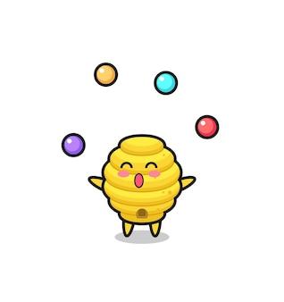 Il cartone animato del circo dell'alveare che fa il giocoliere con una palla, design carino