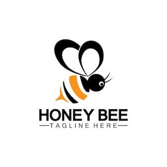 Modello di progettazione dell'illustrazione del simbolo dell'icona di vettore del logo del miele dell'ape