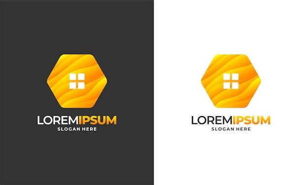 Il logo della casa delle api progetta il vettore del concetto, l'illustrazione vettoriale del modello del logo della fattoria della casa del miele