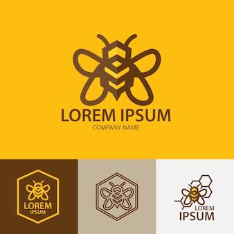Bee logo design ispirazione linea arte modello di logo ape del miele
