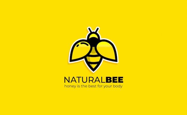 Bee logo design ispirazione line art. modello di logo dell'ape del miele