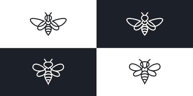 Illustrazione monolinea del profilo della linea dell'icona di vettore del logo dell'ape vettore premium