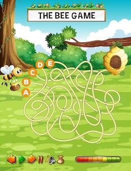 Modello di gioco di puzzle di labirinto di api