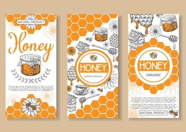Bee miele naturale poster, flyer, banner set. elementi di design di concetto di prodotto biologico naturale miele disegnato a mano per pubblicità aziendale miele.