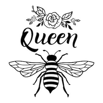 Ape regina, citazione divertente, scritte disegnate a mano per una stampa carina. citazioni positive isolate su priorità bassa bianca. regina delle api, slogan felice per la maglietta. illustrazione vettoriale con calabrone, fiori e foglie.