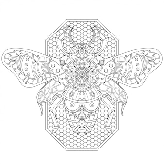 Stile lineare dell'illustrazione di steampunk dell'ape