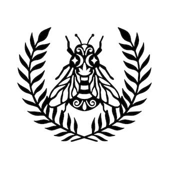Bee wreath cornice floreale illustrazione concetto