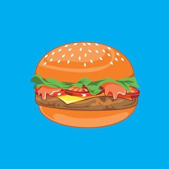 Clipart di vettore dell'illustrazione dell'hamburger del manzo