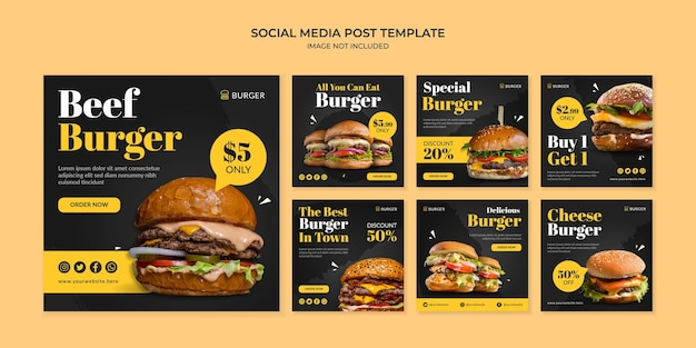 Modello di post instagram social media di hamburger di manzo per ristorante fast food
