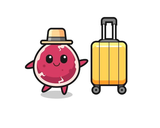 Illustrazione di cartone animato di manzo con bagagli in vacanza, design in stile carino per maglietta, adesivo, elemento logo