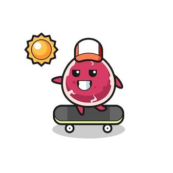 L'illustrazione del personaggio di manzo cavalca uno skateboard, design in stile carino per maglietta, adesivo, elemento logo