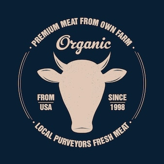 Manzo, mucca, toro. tipografia vintage, scritte, stampa retrò, poster per macelleria macelleria, sagoma di testa di mucca con testo lettering manzo. testa di mucca sagoma isolata, tema di carne. illustrazione vettoriale