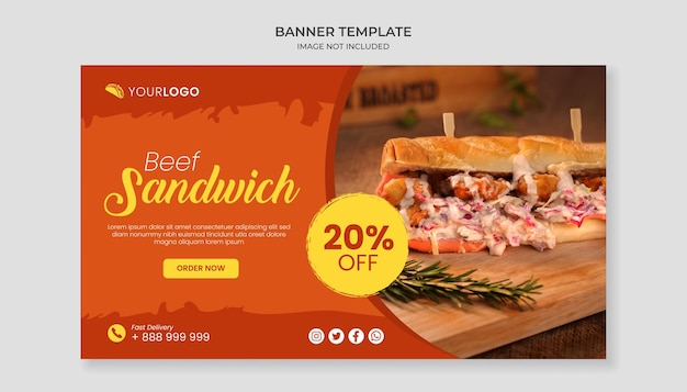 Modello di banner cibo sandwich di manzo