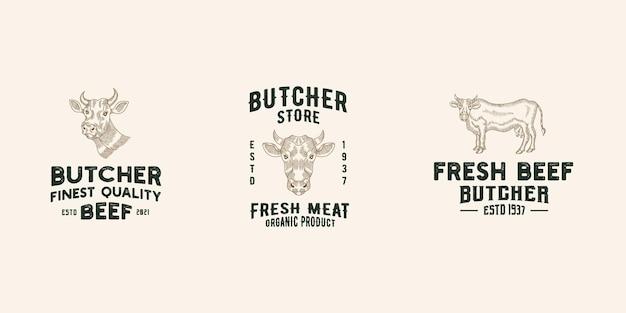 Manzo negozio logo design modello premium vettore, macelleria, negozio di carne, allevamento di mucche
