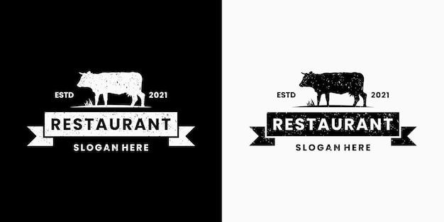 Design del logo della bistecca di manzo per il ristorante
