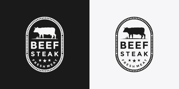 Design del logo della bistecca di manzo per il tuo ristorante aziendale