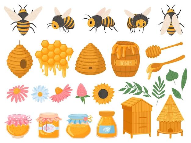 Apicoltura. prodotti dell'apicoltura miele vario in vasetti di vetro. insieme di vettore di alimenti biologici a nido d'ape, cera d'api, alveare, fiori e api. illustrazione miele e apicoltura, ape e dolce biologico