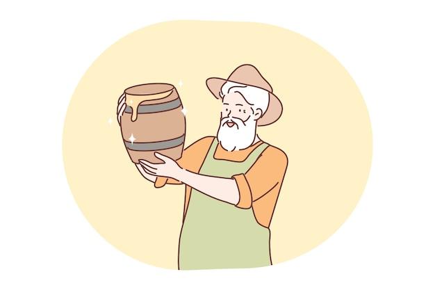 Apicoltura, raccolta, concetto di miele.