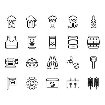 Birra e alcol correlati set di icone