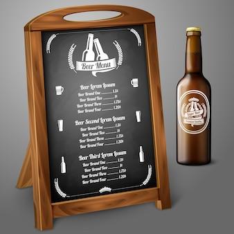 Per birra e alcol con bottiglia di birra marrone realistica ed etichetta della birra con posto per il testo