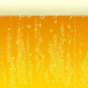 Trama di sfondo di birra con schiuma e bolle