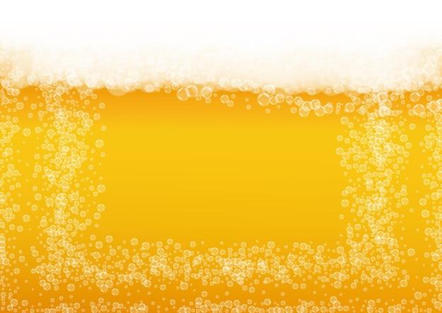 Sfondo di birra con bolle realistiche.