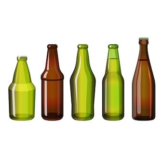 Collezione di bottiglie di birra vuote e con bevande. bottiglie realistiche marroni e verdi di forma diversa