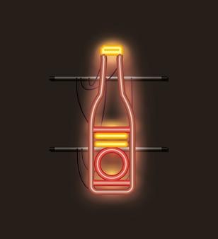 Luce al neon della bottiglia di birra