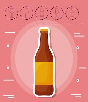 Icone relative alla bottiglia e al picnic di birra sopra fondo rosa, progettazione variopinta. illustrazione vettoriale